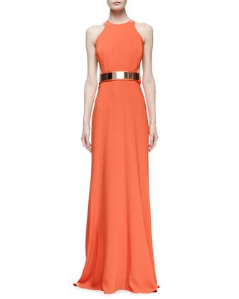 Saskia Sleeveless Belted Gown, Poppy