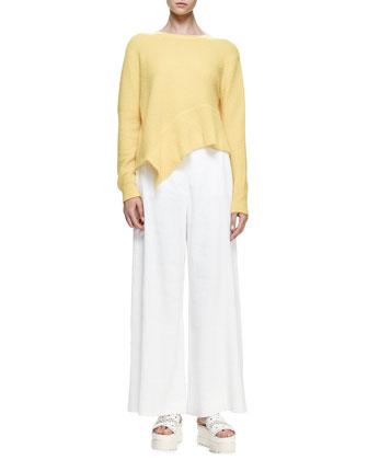 Jewel-Neck Asymmetric-Hem Sweater, Sun