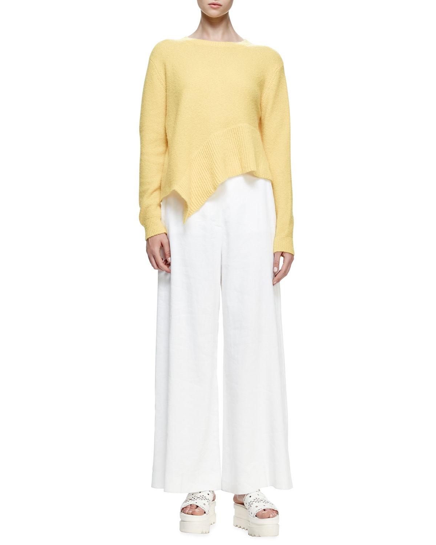 Jewel-Neck Asymmetric-Hem Sweater, Sun, Size: 34 IT (0 US) - Stella McCartney