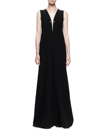 Sleeveless Wide-Leg Jumpsuit, Black