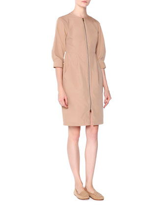 Tech-Canvas Zip-Front Dress, Chino
