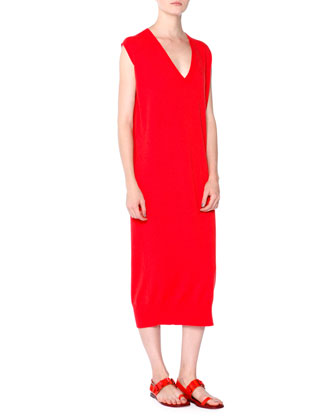 Sleeveless Cashmere Sweaterdress, Red