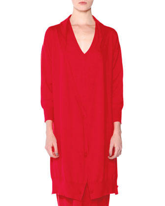 Three-Way Long Cashmere Cardigan, Red