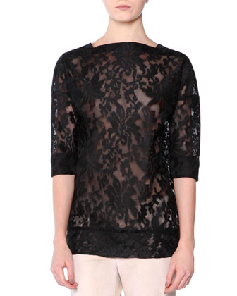 3/4-Sleeve Tech-Lace Top, Black