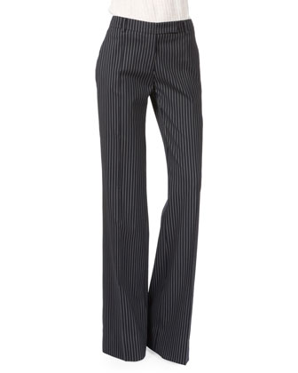 Pinstripe Long Vest W/Braided Detail, Navy/White