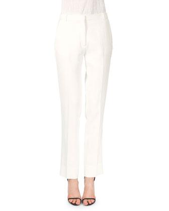 Colorblock Pleated-Hem Blouse & Fringe Seam Straight-Leg Pants