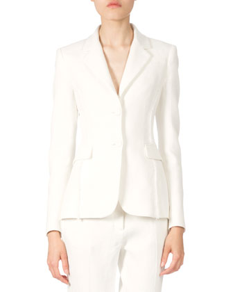 Two-Button Fitted Jacket W/Fringe Detail, Natural White