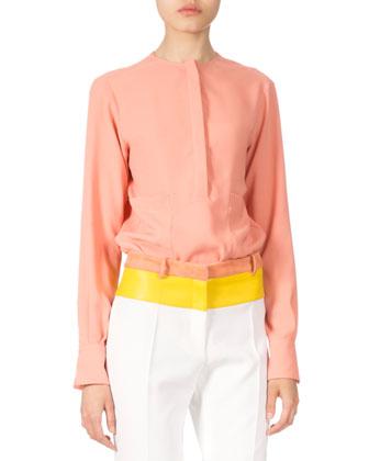 Long-Sleeve Tunic Blouse, Papaya