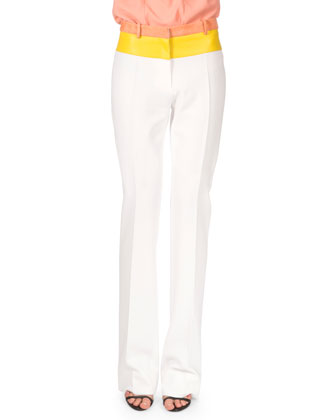 Two-Tone Banded Waist Pants, Optic White