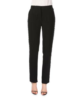 Side-Fringe Ankle-Grazer Pants, Black