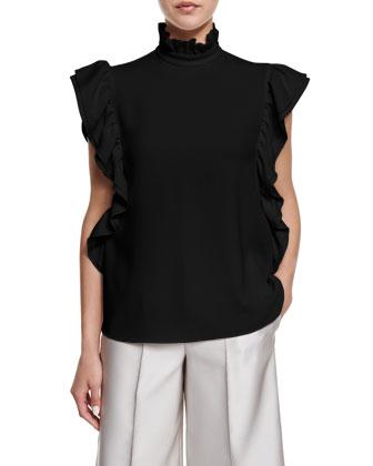 Butterfly-Sleeve Mock-Neck Top, Black