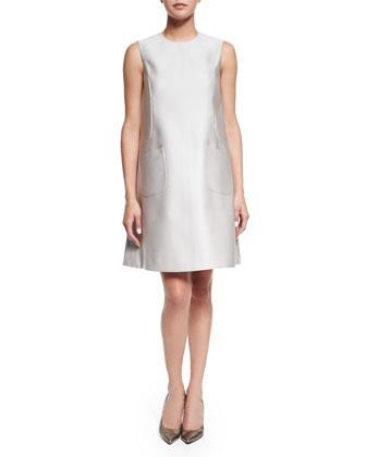 Sleeveless Jewel-Neck A-Line Dress, Silver