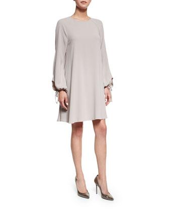 Long-Sleeve A-Line Dress, Silver