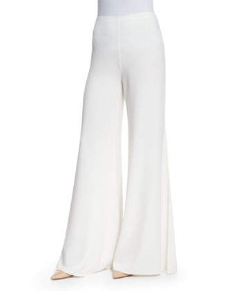 Sleeveless Pleated Crepe Top & High-Waist Wide-Leg Pants, Ivory
