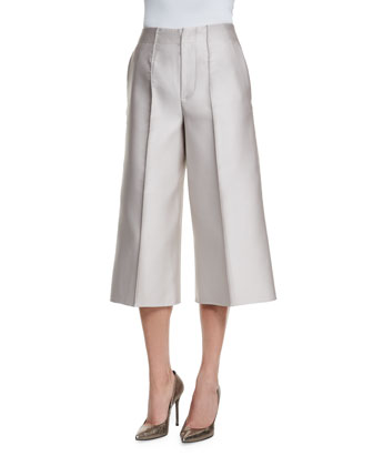 Wide-Leg Cropped Pants, Silver