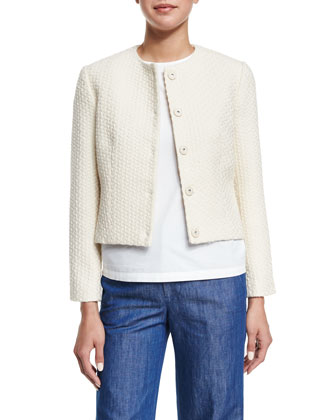 Long-Sleeve Textured Jacket, Ivory