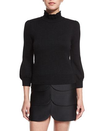 3/4-Sleeve Mock-Neck Sweater, Black