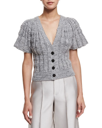 Flare-Sleeve Button-Front Short Cardigan, Silver