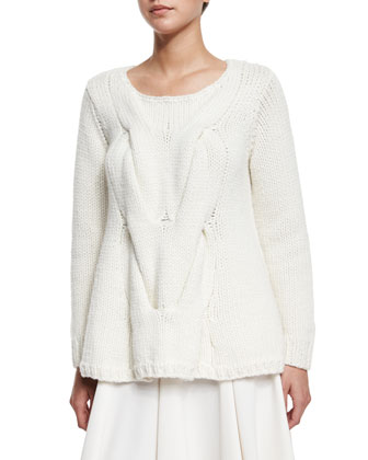 Cable-Knit A-Line Sweater, Ivory
