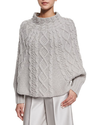 Cable-Knit Long-Sleeve Poncho, Gray