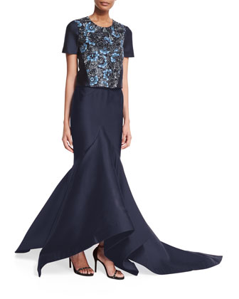 Floral-Embroidered Crop Top & Front-Draped Mermaid Skirt
