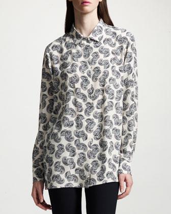 Feather-Print Silk Blouse