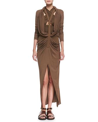 Long Y-Front Drape Dress