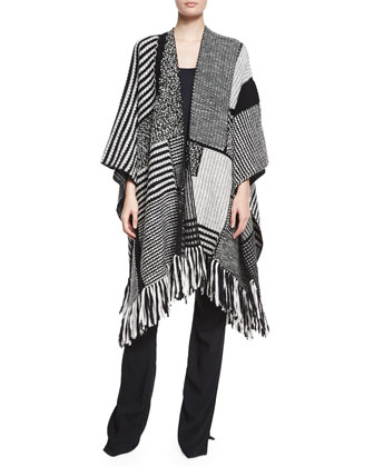 Mixed Knit Fringe-Trimmed Poncho