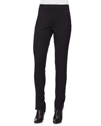 Slim-Leg Side-Zip Pants, Black