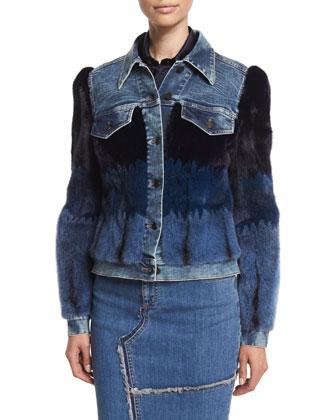 Denim Jacket W/Mink Fur Intarsia, Long-Sleeve Button-Front Safari Blouse & ...
