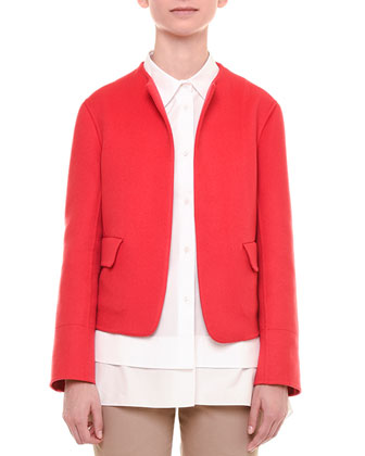 Open-Front Cashmere Jacket, Red