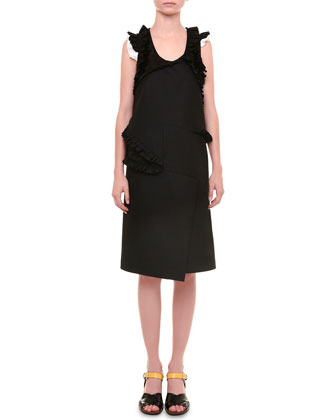 Radzimir Sleeveless Dress W/Ruffles, Black