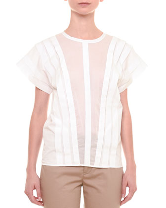 Pleated-Front Jewel-Neck Blouse, White