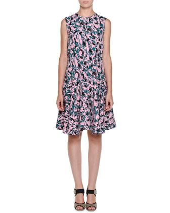 Sleeveless Abstract-Print Dress, Pink Clematis