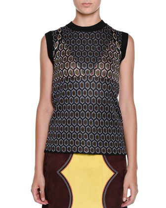 Sleeveless Atomic-Knit Top & Suede Colorblock Cowboy Skirt