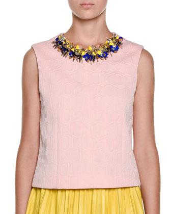 Embellished-Neck Textured Top, Cinder Rose