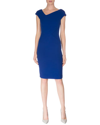Cap-Sleeve V-Neck Sheath Dress, Royal Blue
