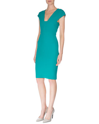 Cap-Sleeve Back Cutout Sheath Dress, Sea Green