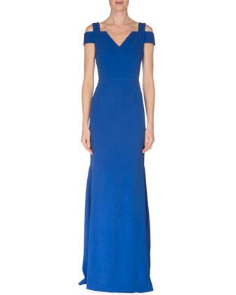 Cold-Shoulder Fluted Gown, Royal Blue