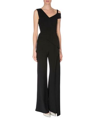 Off-The-Shoulder Straight-Leg Jumpsuit, Black