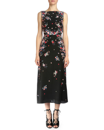 Juno Gloria Garden Sleeveless Midi Dress, Pink Multi