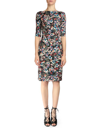 Kirsten Floral-Print Sheath Dress, Pink Multi
