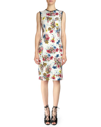 Maura Floral-Print Sheath Dress, White Multi