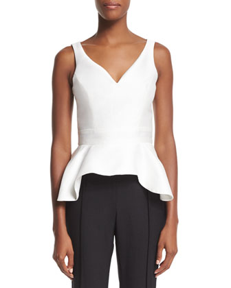 Sleeveless V-Neck Peplum Top, Ivory