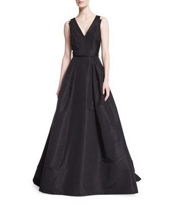 Sleeveless V-Neck Ball Gown, Black