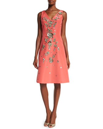 Sleeveless Floral-Embellished Dress, Coral