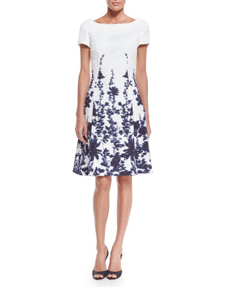 Short-Sleeve Floral-Print A-Line Dress, Navy/Ivory