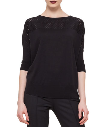 3/4-Sleeve Perforated-Inset Sweater & Stretch Jersey Skinny Pants