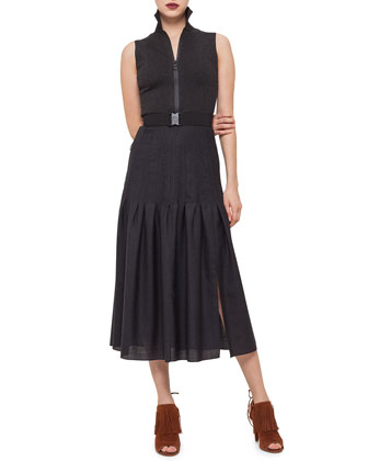 Sleeveless Zip-Front Belted Dress, Black Denim