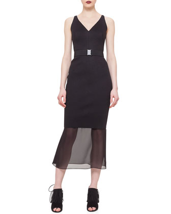 Sheer-Hem Belted Dress, Black